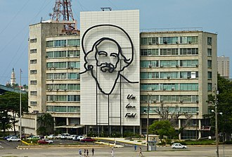 Camilo Cienfuegos - Steel outline of Cienfuegos on the Ministry of Informatics and Communications, Havana, Cuba, 2011