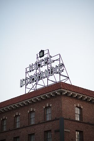 Hotel Normandie - The rooftop sign from the 1940s, taken in 2016.