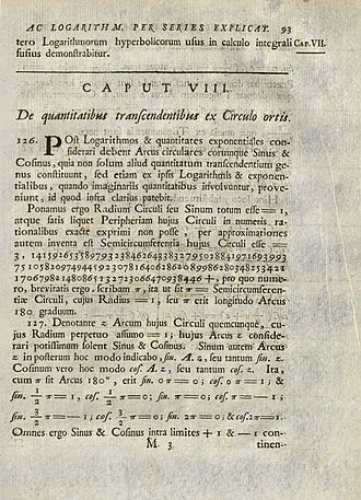 Introductio in analysin infinitorum - Page from Introductio in analysin infinitorum, 1748