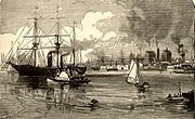 View of the Hudson in the 1880s showing Jersey City