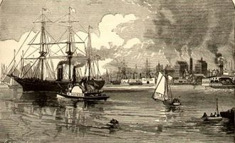 Hoboken, New Jersey - The Hudson River during the 1880s, offshore from Hoboken and Jersey City