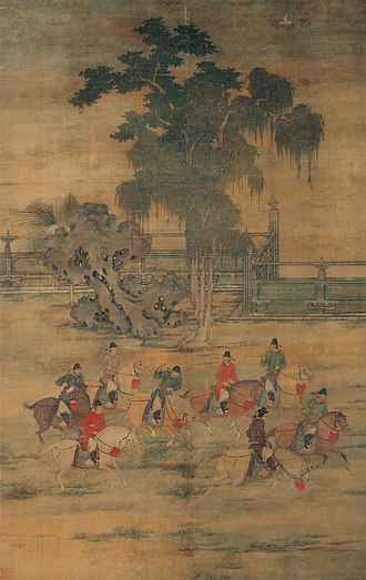 """Zhao Yan (Later Liang) - """"Eight Gentlemen on a Spring Outing,"""" attributed to Zhao Yan"""
