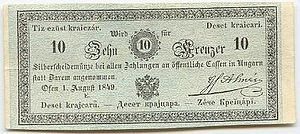 "Magyarization - A so-called ""Kossuth banknote"" from 1849 (during the revolution) with multilingual inscriptions."