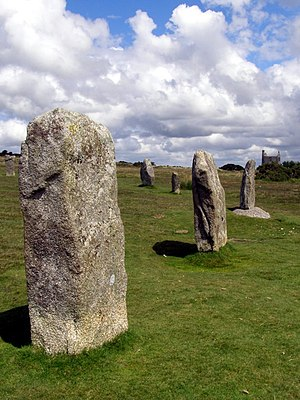 The Hurlers (stone circles) - Standing stones in the middle circle of The Hurlers