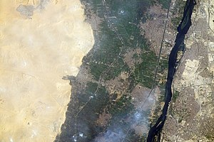Memphis, Egypt - Memphis and its necropolis Saqqara as seen from the International Space Station.