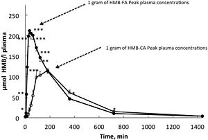 Graphic of HMB plasma concentration over time