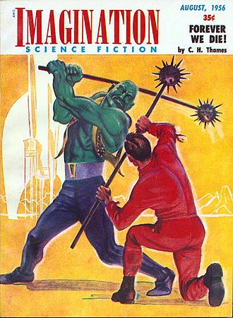 Space opera in Scientology - Cover of Imagination August 1956 depicting a space opera story.
