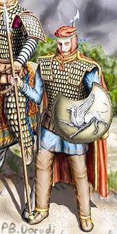 Ilustrasi buatan seniman yang menggambarkan tentara Pasukan Abadi yang mengenakan pakaian tempur.