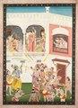 India, Pahari Hills, Bilaspur School, 19th century - Radha and Hindu God Krishna Celebrating the Festival Holi - 1989.340 - Cleveland Museum of Art.tif