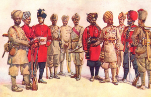 106th Hazara Pioneers - A member of the regiment (third from right) depicted with other British Indian Army pioneers in 1911