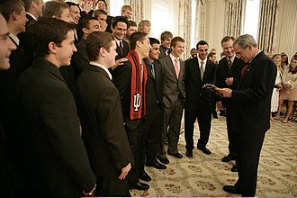 Indiana Hoosiers men's soccer - The 2004 men's soccer team at the White House in May 2005 with President George W. Bush.