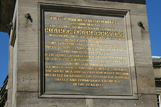 Prime Minister of the United Kingdom - Inscription on Grey's Monument, Newcastle upon Tyne, England (click image to enlarge)