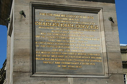 Inscription on Grey's Monument, Newcastle upon Tyne, England (click image to enlarge) Inscription Grey Monument.jpg