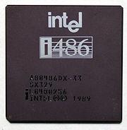 An Intel i486DX-33 microprocessor