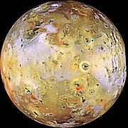 Io exhibits extraordinary variations in color and brightness as shown in this color-enhanced image.