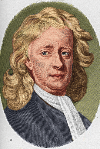 Isaac Newton's occult studies - Colorized engraving after Enoch Seeman's 1726 portrait of Newton