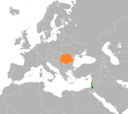 Map indicating locations of Israel and Romania