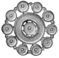Järnåldern, Hjulformigt spänne av brons, Nordisk familjebok.png