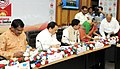 J.P. Nadda and the Union Minister for Tribal Affairs, Shri Jual Oram witnessing the signing ceremony of India's first public-private-partnership (PPP) agreement between ICMR and Sun Pharma.jpg