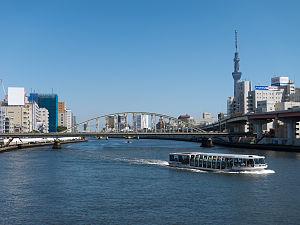 Sumida, Tokyo - View of Sumida River from Ryogoku Bridge