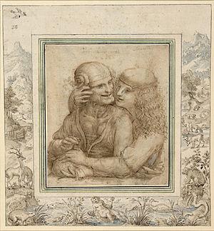Jacob Hoefnagel - Unequal couple, Pen, ink and watercolor