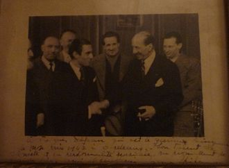Jacques Dejean - Presentation of the 1st Jacques Thibaud Prize in 1942, from left to right: Firmin Touche, Gaston Poulet, André Asselin, Jacques Dejean (laureate), Jules Boucherit, Jacques Thibaud, Jean Fournier