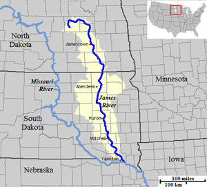James River Map James River (Dakotas)   Wikipedia