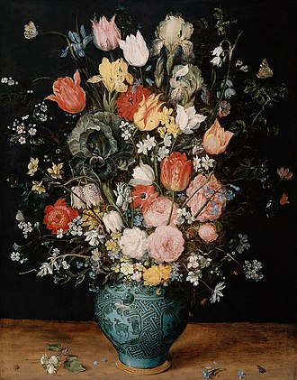 Still-life paintings from the Netherlands, 1550-1720 - Image: Jan Brueghel (I) Bouquet of flowers in a blue vase