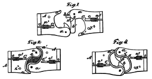 Eli H. Janney - Diagram of the top view of Janney's coupler design as published in his patent application in 1873.