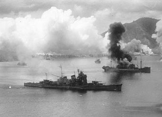 Japanese cruiser Haguro - Haguro under attack at Rabaul on 2 November 1943, showing damage received in the battle of Empress Augusta Bay that morning.