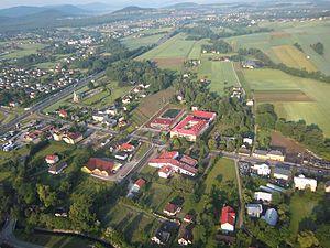 Jasienica, Silesian Voivodeship - Village's centre from air