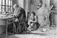 Gravure. Un horloger travaille à la lumière d'une fenêtre. À sa droite, un petit enfant lit, assis sur un tabouret bas.