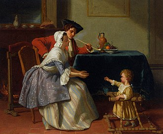Jean Carolus - Image: Jean Carolus, 1855, Baby's First Steps, oil on panel, 41 x 48.5 cm, private collection
