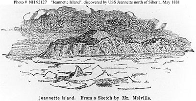 sketch by George Melville of Jeannette Island, north of Siberia in May 1881.