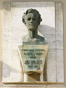 Bust of Jiří Wolker at home of his birthplace in Prostějov