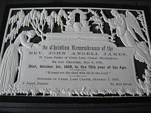 John Angell James - 'In Memoriam' Card for John Angell James
