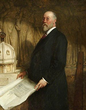 John Belcher (architect) - c.1906 by Frank Dicksee (1853–1928), with sculpture by Hamo Thornycroft