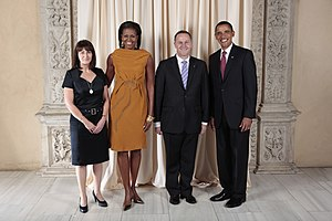 John Key - John and Bronagh Key with Barack and Michelle Obama at the Metropolitan Museum in New York, 23 September 2009.