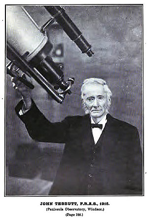 John Tebbutt - John Tebbutt at his observatory in 1915