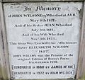John Wilson gravestone, Robert Burns' first printer, High Kirk, Kilmarnock.JPG