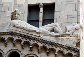Fine Arts Building (Los Angeles) - Image: Johnson burt fine arts building facade sculpture 1