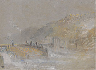 Foul by God- River Landscape with Anglers Fishing From a Weir
