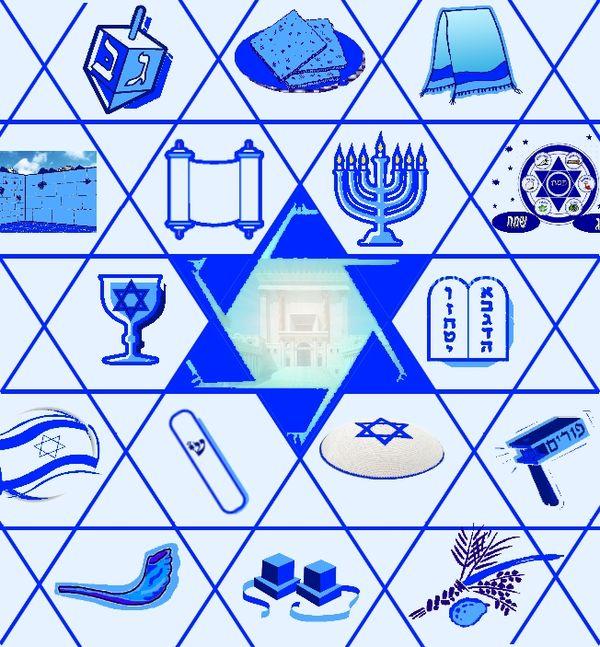 Dreidel, Matza, Talit, Western Wall, Torah, Menorah, Pesach, Wine, Ten Commandments, Israel, Mezuza, Yarmulka, Purim, Shofar, Tefilin, Sukkoth.