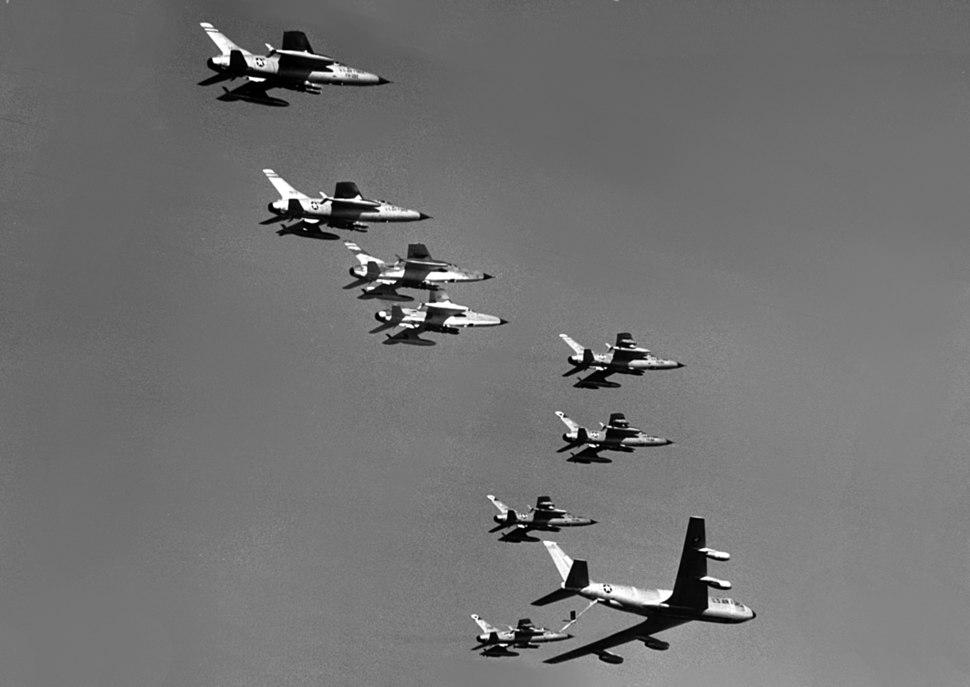 KC-135A refuels F-105Ds over Vietnam 1965