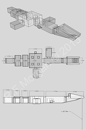 KV3 - Isometric, plan and elevation images taken from a 3d model