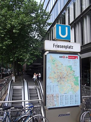 Cologne Stadtbahn - Entrance to Friesenplatz station on Hohenzollernring
