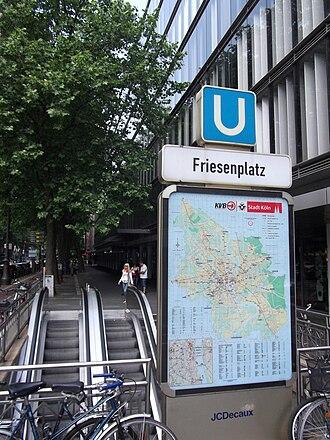 Cologne Stadtbahn - Entrance to Friesenplatz station on Hohenzollernring