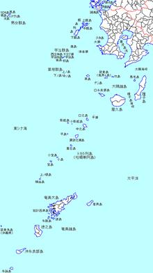 吐噶喇列島の位置(100x100内)