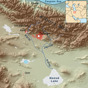 Jajrood River - Map showing the Jājrūd river