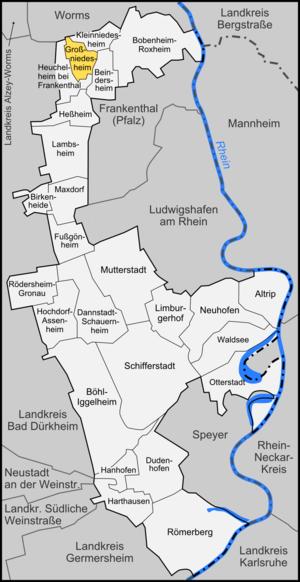 Großniedesheim - Image: Karte Großniedesheim